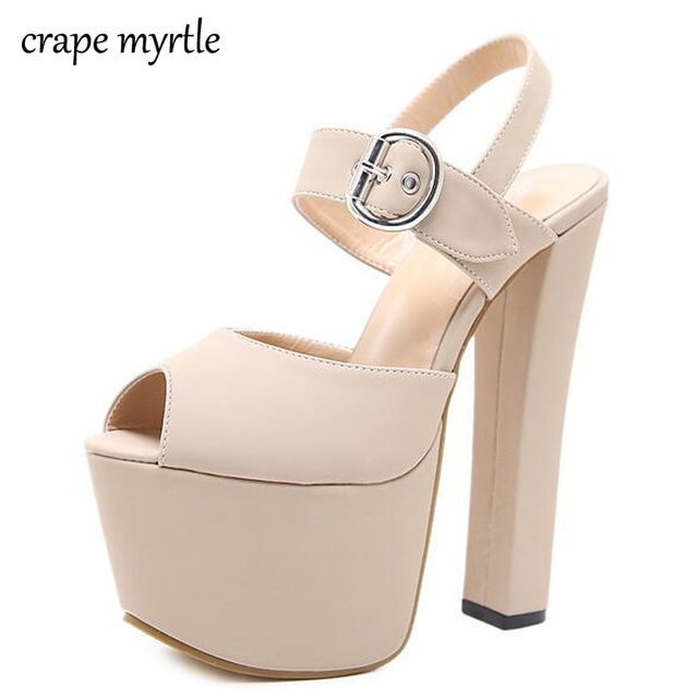 3c7cae55acb12 Fashion Buckle High Heels Sandals Women Spring Summer Flock Solid Color  Platform Shoes Females Black Beige Party Shoes YMA116