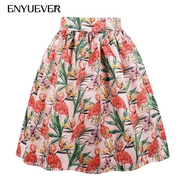 Enyuever Plus Size Vintage Skirts Flamingo Women Summer Clothing Pleated  Skater 80s Retro Party Elegant Midi Skirt Pocket Saias 3d61cef493c6