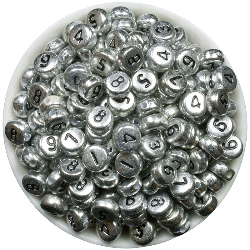 Silver Alphabet Beads: 7mm 200Pcs Number Alphabet Beads Acrylic Bead With Letters