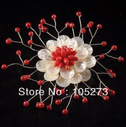Nova Arriver charme Natural branco pérola e Coral vermelho flor de 71 mm de moda de nova frete grátis