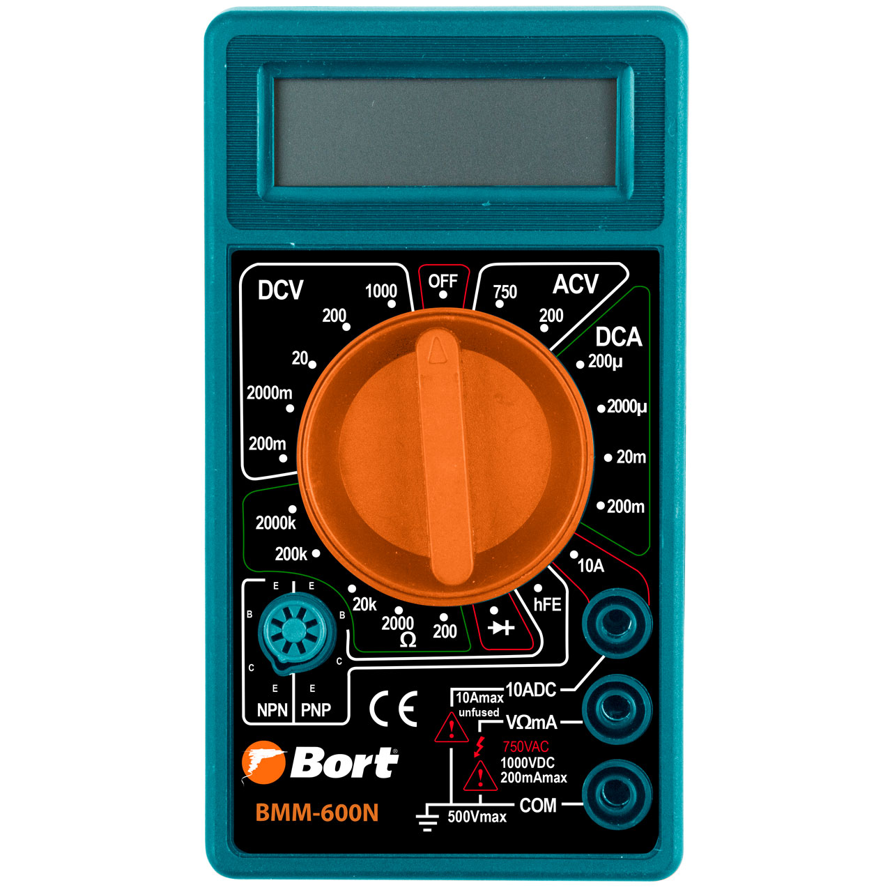 Bort AC DC LCD Digital Auto Multimeter Voltmeter Multimetro Ammeter Ohm Tester High Meter Safety Handheld Overload Protection BMM-600N