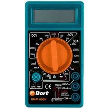 Мультитестер Bort BMM-600 (измерение постоянного, переменного тока, сопротивления, компактный корпус, щупы батарея в комплекте)