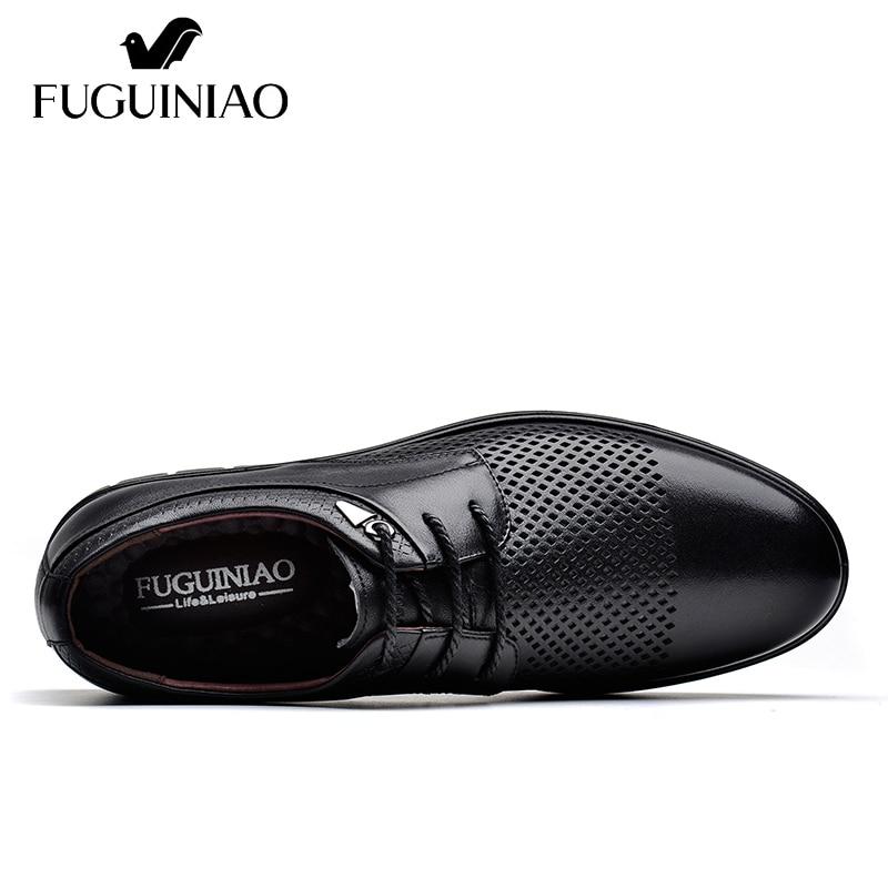 Ayakk.'ten Erkek Rahat Ayakkabılar'de Yaz Nefes düz ayakkabı! Ücretsiz kargo! FUGUINIAO Hakiki Deri gündelik erkek ayakkabısı/renk siyah, kahverengi/boyutu 38 44'da  Grup 2