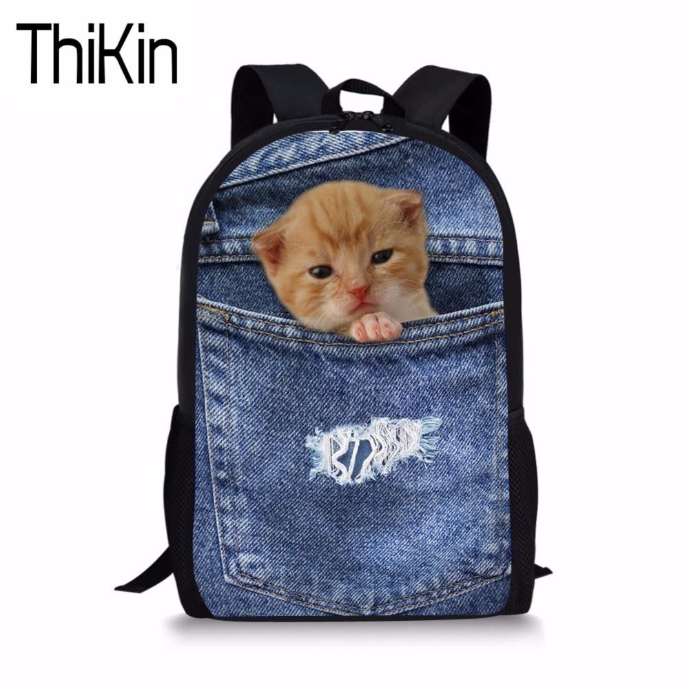 THIKIN Children School Backpack Cute Cat 3D Print Primary School Bag Girl Bookbag Teenager Bagpack Kid Rucksack Mochila Infantil