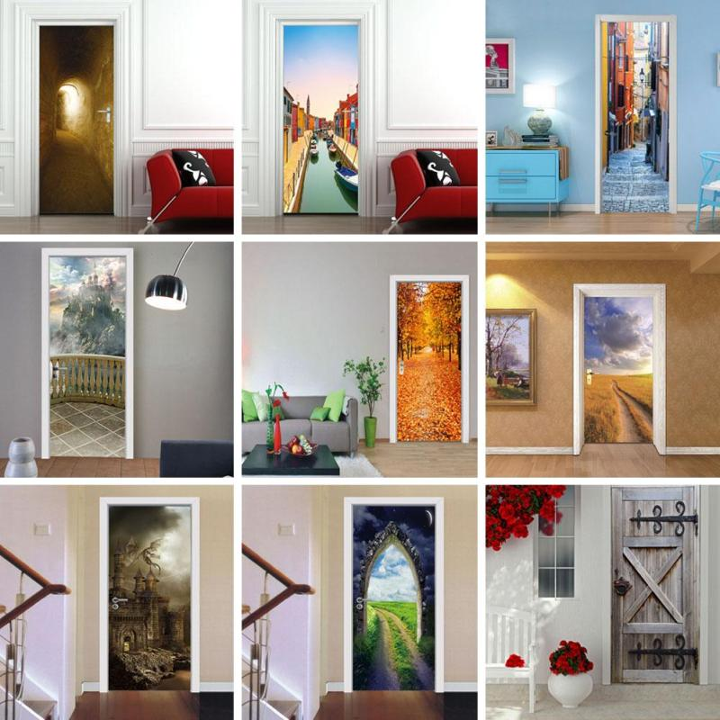 1Pc 3D Landscape Door Sticker Mural Home Personalized Diy Pvc Waterproof Living Room Bedroom Door Decorative Wall Decals 3