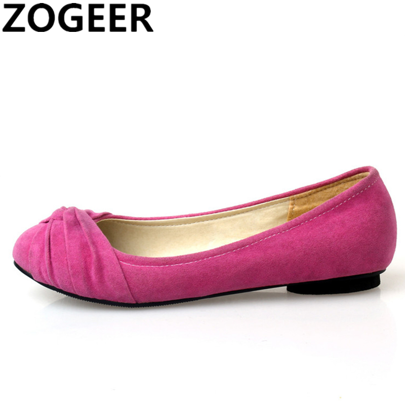 Plus Size 47 Casual Women's Flat Loafers Shoes Flock Shallow Flats Spring Autumn Ballet Shoes Flat Heel Solid Ladies Work Shoes
