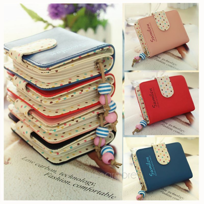 Candy Colors Purse Polka Dots Leather Zipper Short Wallet PU Leather Coin Purse Kawaii Cute Cards Holder For Girls Women