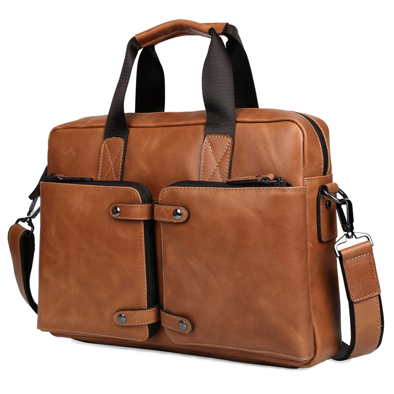 TIDING Men fashion briefcase designer handbags high quality real leather 14