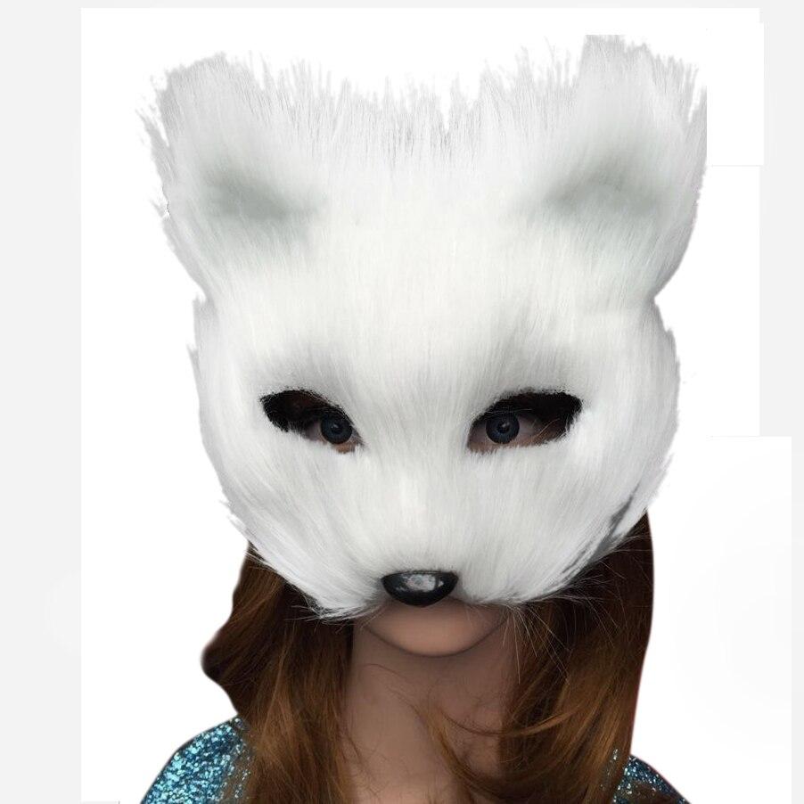 Online Shop Takerlama Animal White Plastic Villus Fox Mask Cosplay ...