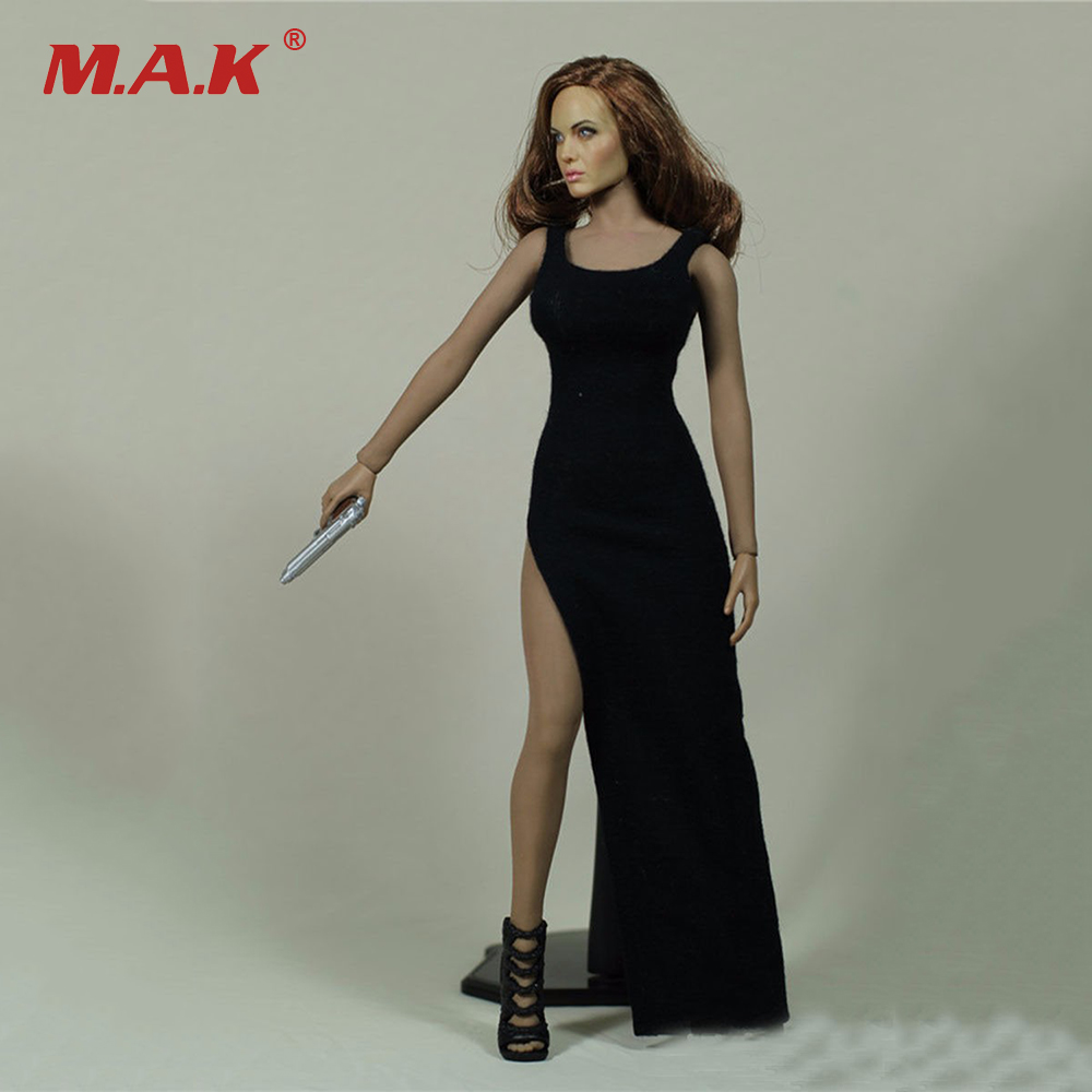 Sexy Girl New 1/6 Black Female Dress Clothing Model Toys For 12 Female Action Figures Middle Bust Body   Accessory new sexy vs045 1 6 black and white striped sweather stockings shoes clothing set for 12 female bodys dolls