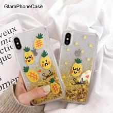 Funda para teléfono con brillo de piña y arena movediza para iPhone X Xs Max XR 8 7 funda sencilla para iPhone 8 7 6 6 S más casos(China)