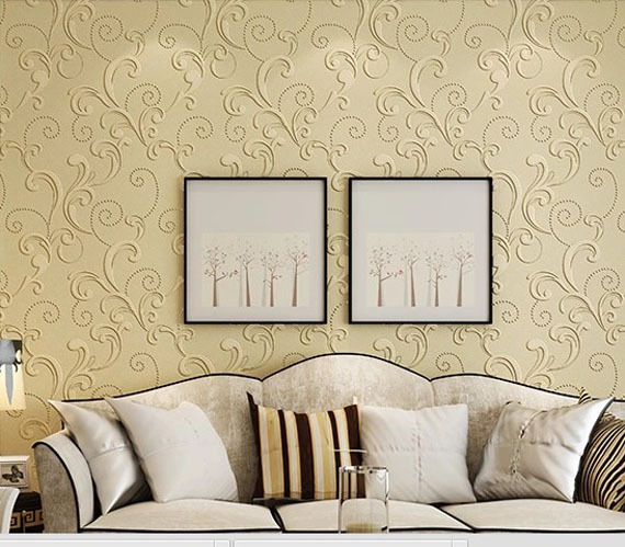 The new 3d embossed non woven wallpaper floral murals living room ...
