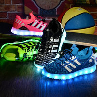 New Luminous Sneakers Kids Sneakers usb Charging Lighted LED lights Children Shoes Casual USB Girls Boys Shoes 26 37 EU Running