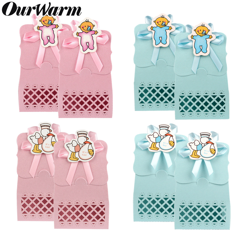 OurWarm 12pcs Paper Candy Gift Box Christening Cardboard Bags Dessert Gifts Boys Girls Baby Shower Baptism Party Decoration