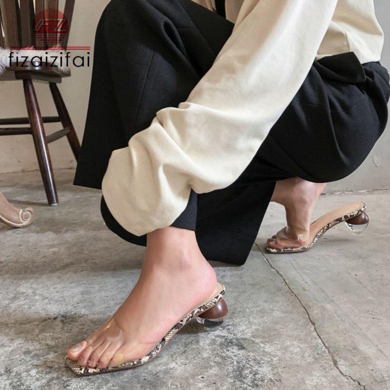 Coolcept sandales à talons hauts femmes en cuir véritable Pvc chaussures d'été femmes talons étranges Peep Toe Sexy diapositives chaussures taille 33-40