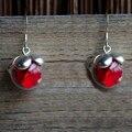 Rosa vermelha Flores Reais 925 Esterlina Brincos de Prata Para As Mulheres Da Moda Coreana Jóias Bohemian Bonito Encantos de Cristal Do Vintage