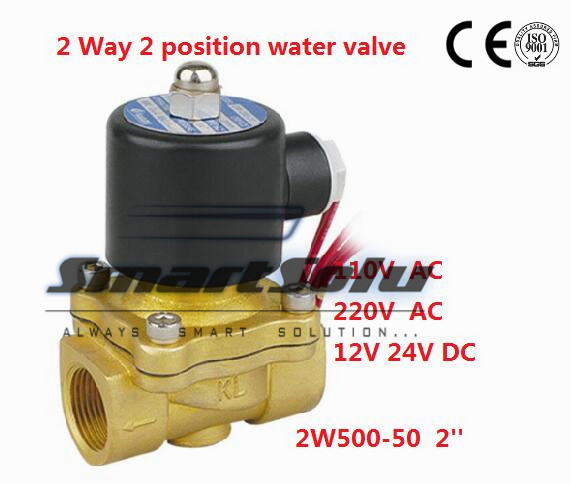 Free shipping High Quality 2 PCS IN Lot 50mm Flow Bore G2'' Brass Valve Solenoid  Control Valve Model 2W500-50 Voltage DC24V free shipping high quality 2pcs in lot process brass solenoid valve g1 1 2 2w400 40 110v 50 60hz voltage coil