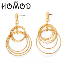 HOMOD Stud Earrings handmade Big Wire Simple fashion basketball Large Thin For Women Jewelry accessories
