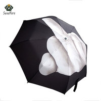 Travel Umbrella Strong Windbreak New 96 56Cm Vertical Middle Finger Personality C Shape Umbrella Creative Three