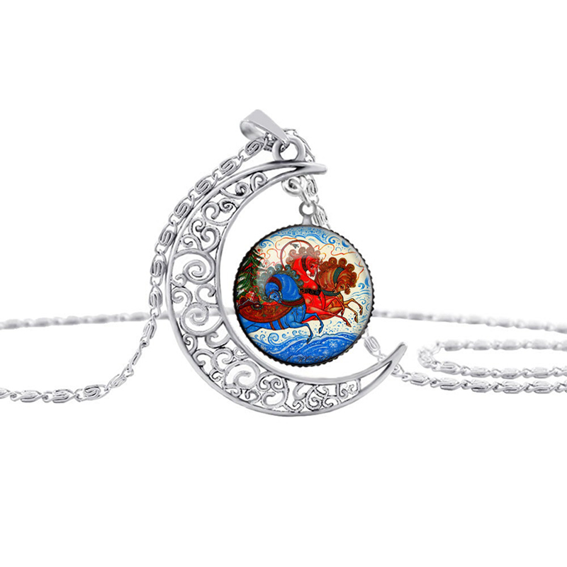 SUTEYI Silver Moon Necklace Necklaces Glass Cabochon Santa Claus Picture Chain Statement Necklaces Jewelry Wholesale