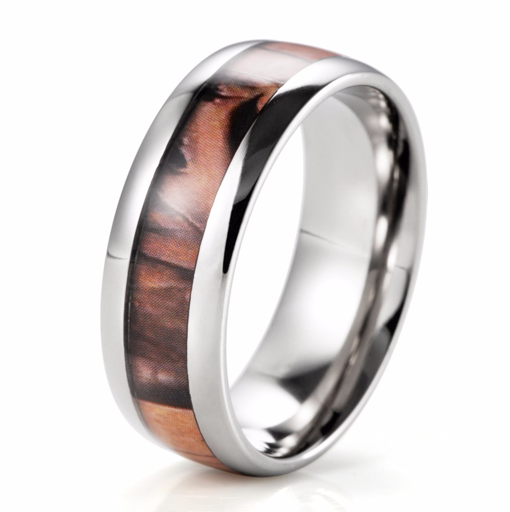 mens domed pure titanium brown tree camo ring engagement ring camouflage wedding band