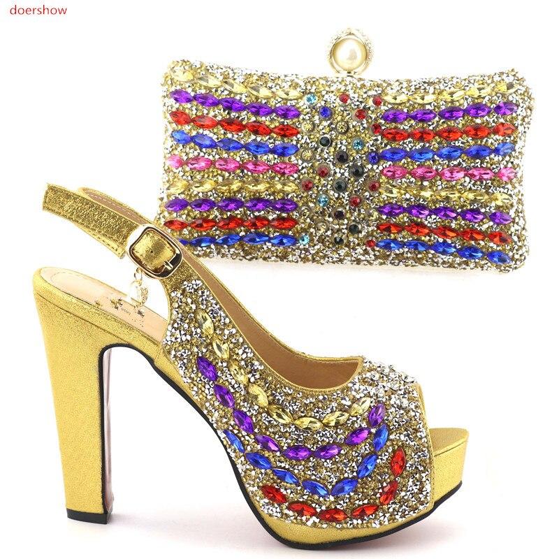 цены doershow 2018New Arrival Rhinestone Shoes And Matching Bag Set Italian Elegant Woman Slipper Pumps Shoes And Bag Set HQQ1-10