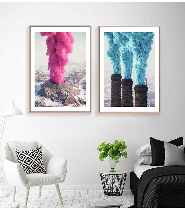 Nordic Style Poster And Prints Canvas Painting Wall Art Pictures For Living Room decoration Volcanic eruption balloon Pink Blue