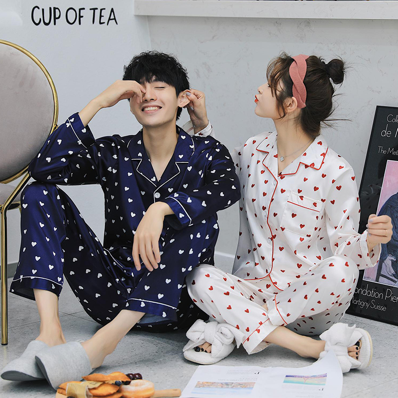 2018 Spring Autumn fashion Lovers Sleepwear suit Silk Long-sleeve print casual Home Wear Couple   Pajamas     Sets   for Men and Women
