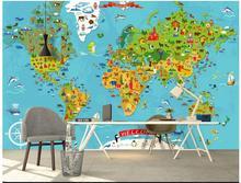 Home Improvement - Painting Supplies  - Customized 3d Photo Wallpaper 3d Wall Mural Wallpaper Children Cartoon Animals Global Map Of The World TV Setting Wall Wallpaper