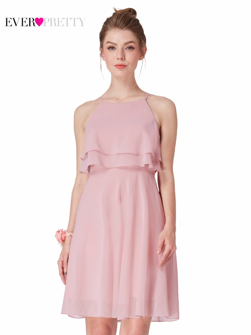 Vestidos de Cóctel Rosa gasa Vestido corto elegante siempre bastante ...