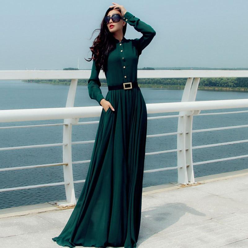 581327168 النساء فساتين ماكسي اللباس الشتاء جديد طويل vestidos femininos الأزياء  الصلبة vestido فستان بأكمام طويلة إمرأة الملابس اللباس C1760