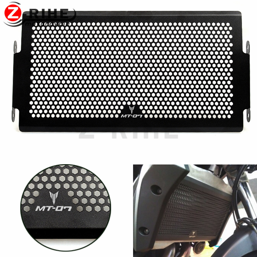 FOR 2017 New Black Motorcycle Radiator Grille Guard Cover Protector For YAMAHA MT07 MT-07 mt 07 2014 2015 2016 XSR700 FZ 07 black motorcycle accessories radiator guard protector grille grill cover for yamaha yzf r1 yzf r1 2009 2014