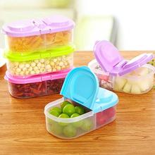 1Pc Convenient Lunch Food Double Slots Box Sundries Organize Box Holder Storage Case Container Case Splitter Novelty Colorful45