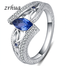ZRHUA Classic 925 Sterling Silver Finger Rings for Women Vintage Engagment Anillos Blue/Red/Green AAA Zircon Jewelry Girls Anel
