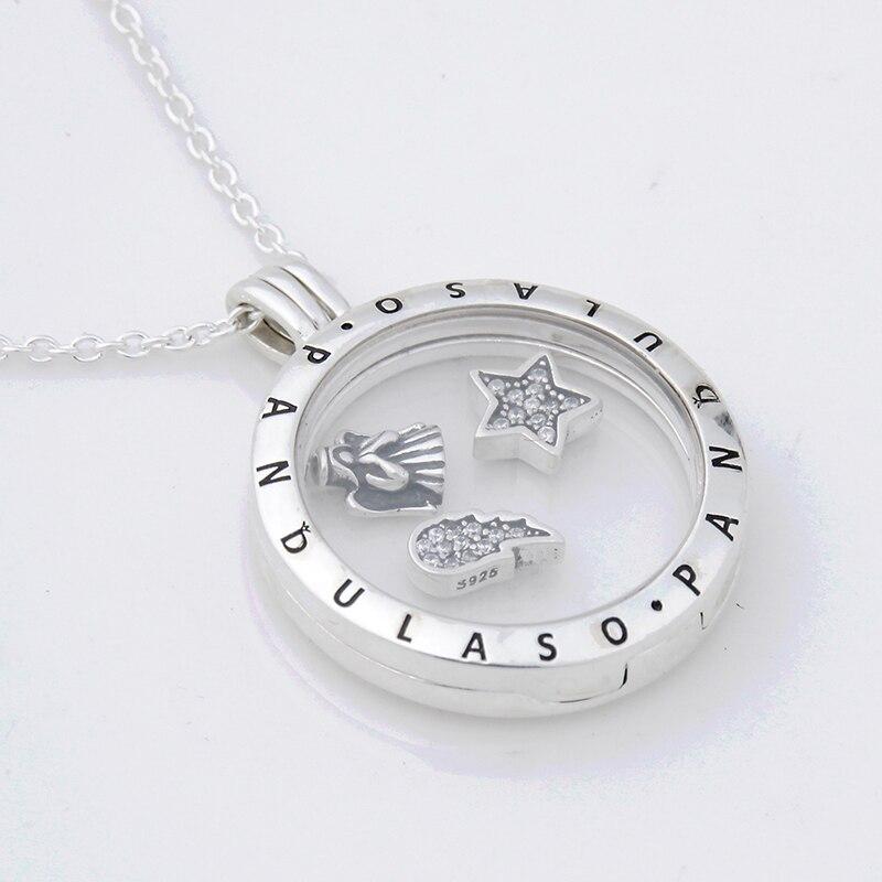 Pandulaso Celestial Petites Floating Locket Large Pendant Choker Original 925 Silver Charm Necklaces Pendants for Women