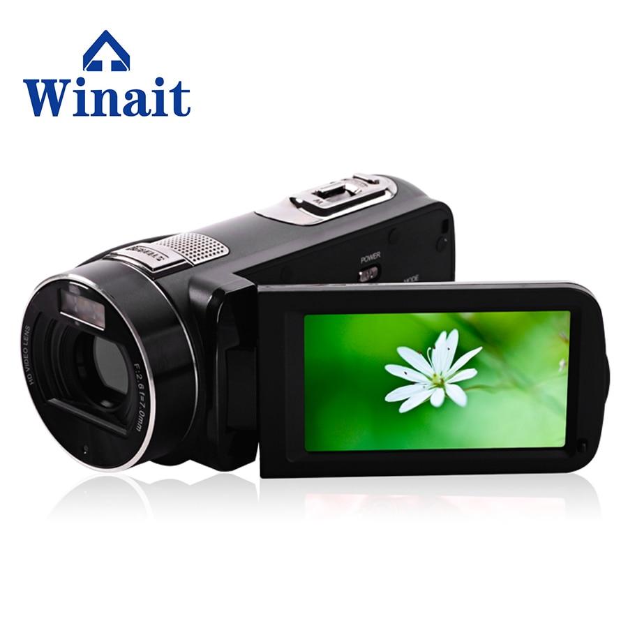 Livraison gratuite 3 ''Full HD 1080 P caméra vidéo HDD/mémoire Flash Type de média professionnel caméra vidéo numérique Max 24 MP