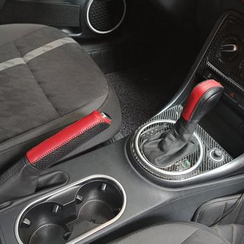 Prawdziwej skóry samochodu w porcie gałka zmiany biegów pokrywa hamulca ręcznego przypadku ochrony dla Volkswagen VW Beetle do szycia ręcznego tanie i dobre opinie CHFXFLSANHAO Genuine Leather Osłony dźwigni zmiany biegów