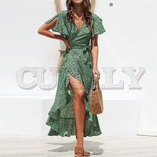 CUERLY Leopard print dress women Summer sashes long green split floral beach Sexy holiday female plus size vestidos
