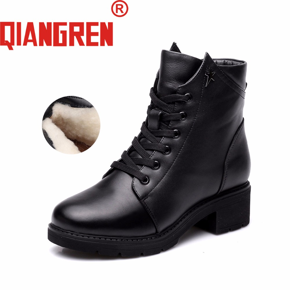 QIANGREN High-grade Quality Military Factory-direct Women's Winter Genuine Leather Wool Rubber Snow Boots Outdoors Warm Botas new premium promotional yu europe d41x d341x flange rubber seal butterfly valves factory direct quality assurance