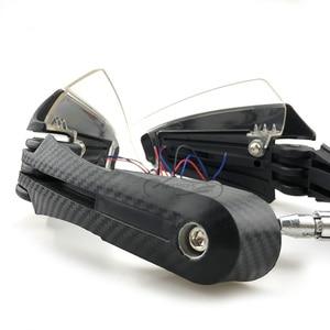 "Image 2 - 7/8 ""22mm אופנועים משמרות יד בר סוף פחמן מראה נופל מגיני עם LED אור אוניברסלי עבור הונדה קוואסאקי KTM פולאריס"