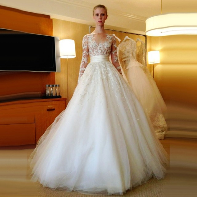 Aliexpress Com Buy Simple Elegant See Through Lace Part: Puffy Lace Wedding Gown_Wedding Dresses_dressesss