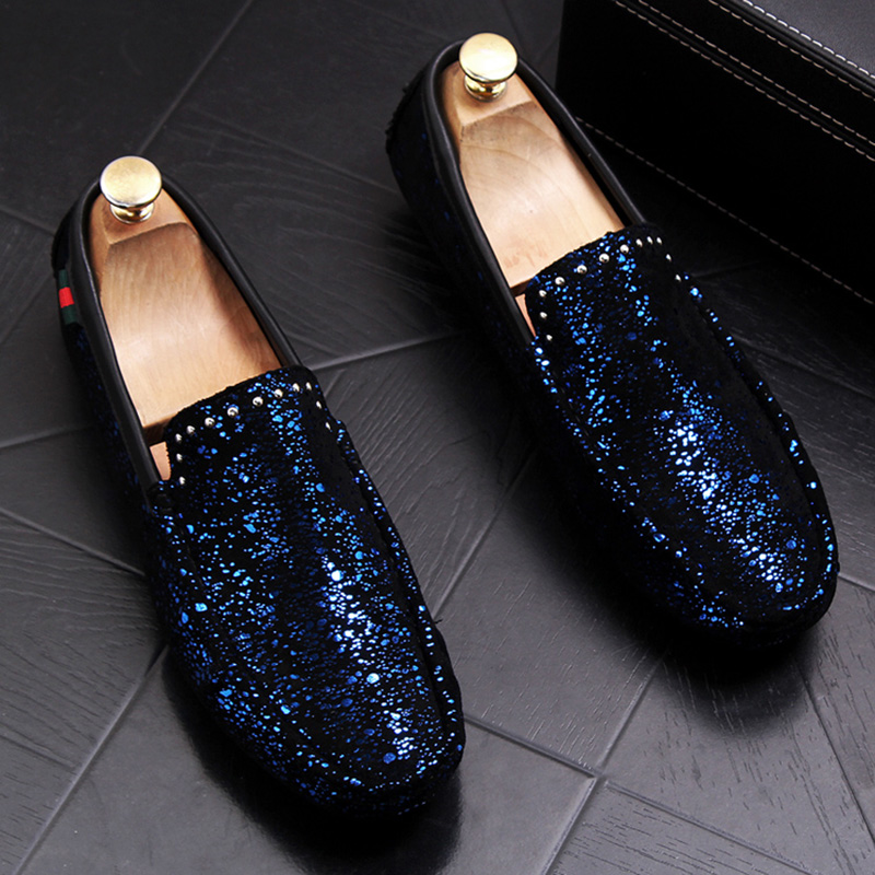 men's leisure breathable wedding party dresses soft leather rivets shoes young gentleman slip on lazy flats shoe male loafers 1