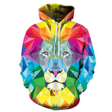 Men 3D Sweatshirt Painting Lion Printed Autumn Winter Casual Loose Thin Hooded