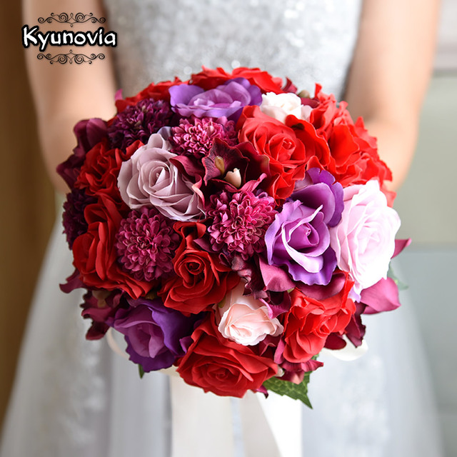 Kyunovia Colourful Wedding Bouquet Fl Gifts Flowers Keepsake Red Rose Hydrangea