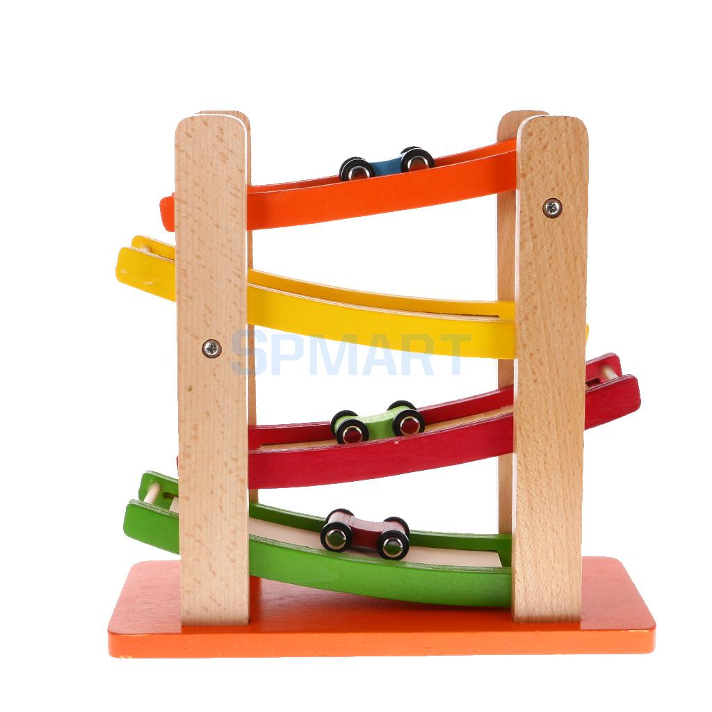 Kids 4-level Racetrack Set with 3 Cars Wooden Gliding Cars Ramp Racing Toys Educational & Learning Toys for Children Toddler