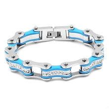Wholesale Bling Crystal Motorcycle Bracelet Stainless Steel Jewelry Blue Bicycle Chain Motor Biker Girls Men Bracelet SJB0313