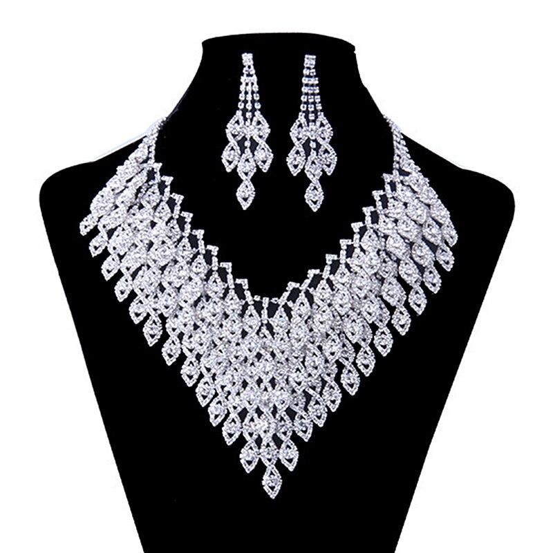 2016 New Arrival Women Jewelry Set Zinc Alloy With Austrian Crystal Necklace/Earrings Set Fashion Jewelry Dress Accessories N134 er 5302 women s fashionable leaf style zinc alloy earrings green pair