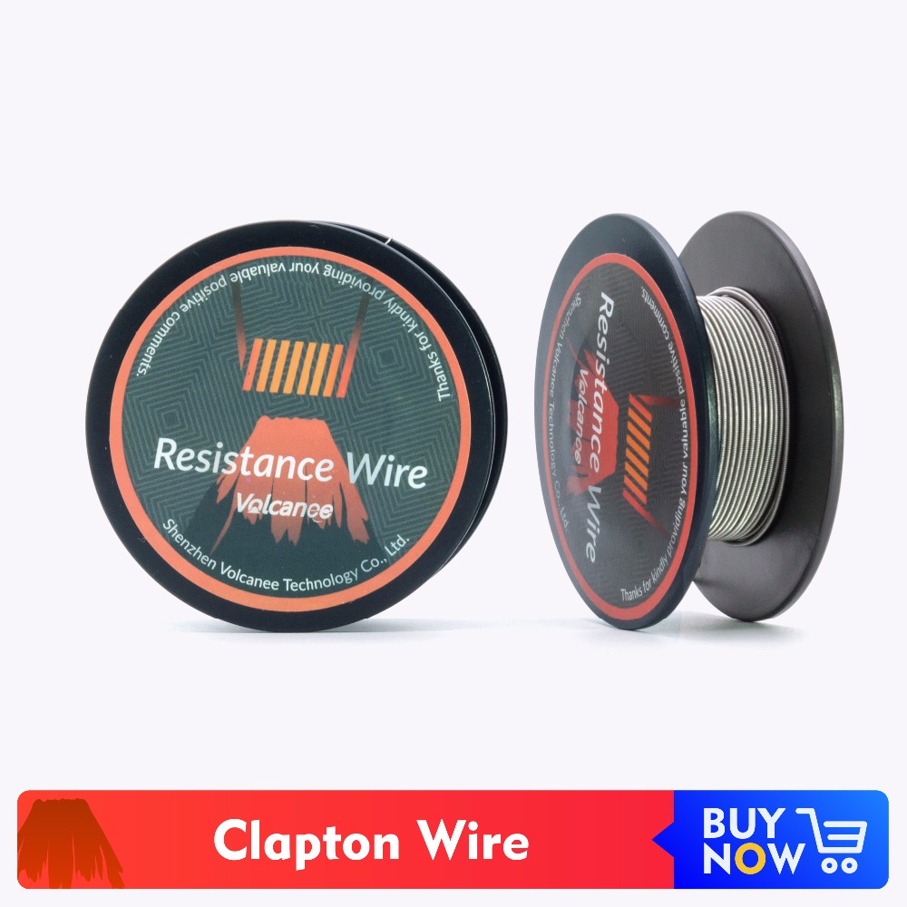 Volcanee Clapton Coil Heating Wire Clapton Staggered Twisted Coil 24GA 26GA For MTL RTA RDA RBA Rebuildable Atomizer 15feet/roll