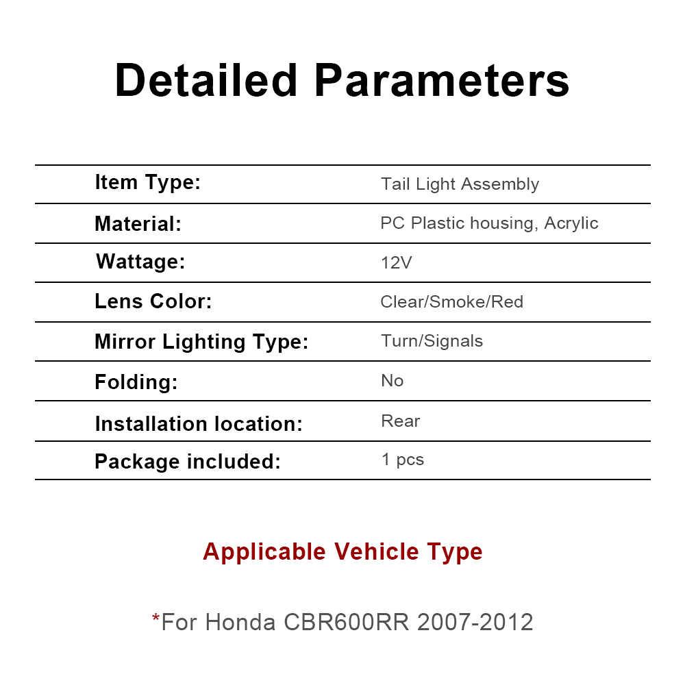 Для Honda CBR600RR CBR 600 RR 2007 2008 2009 2010 2011 2012 E-Mark мотоцикл задний светодиодный фонарь стоп-сигнал встроенные Сигналы поворота