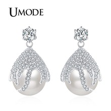 UMODE 2018 New Fashion Pearl Drop Earring for Women Clear Zircon Crystal CZ Water Shape Earrings White Gold Jewelry AUE0453